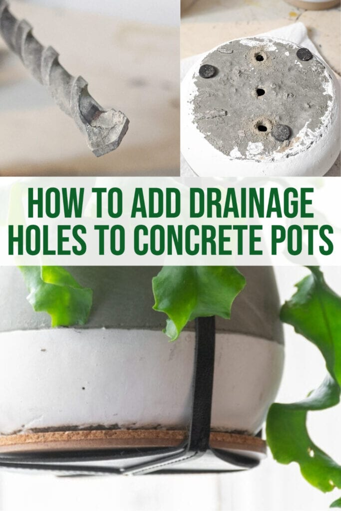 image collage of drilling holes in concrete post for drainage with text how to add drainage hole to concrete pots