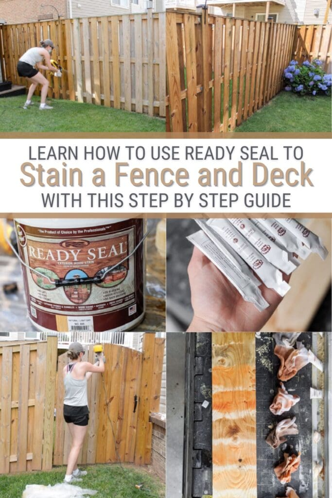 image collage staining a fence and deck with text Learn how to use ready seal to stain a fence and deck