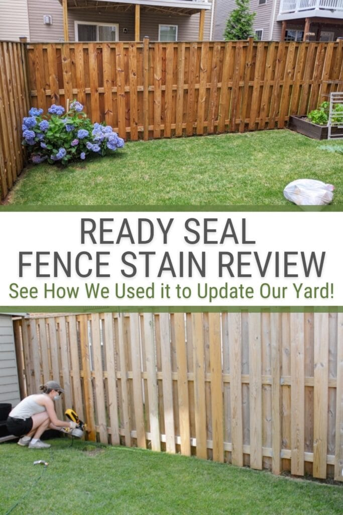 before and after fence with ready seal fence stain and text Ready Seal Fence Stain Review