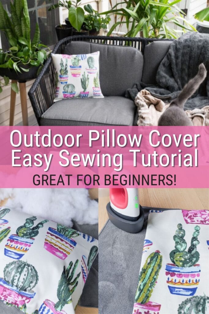 image collage of how to sew outdoor pillow covers with text Outdoor Pillow Cover Easy Sewing Tutorial