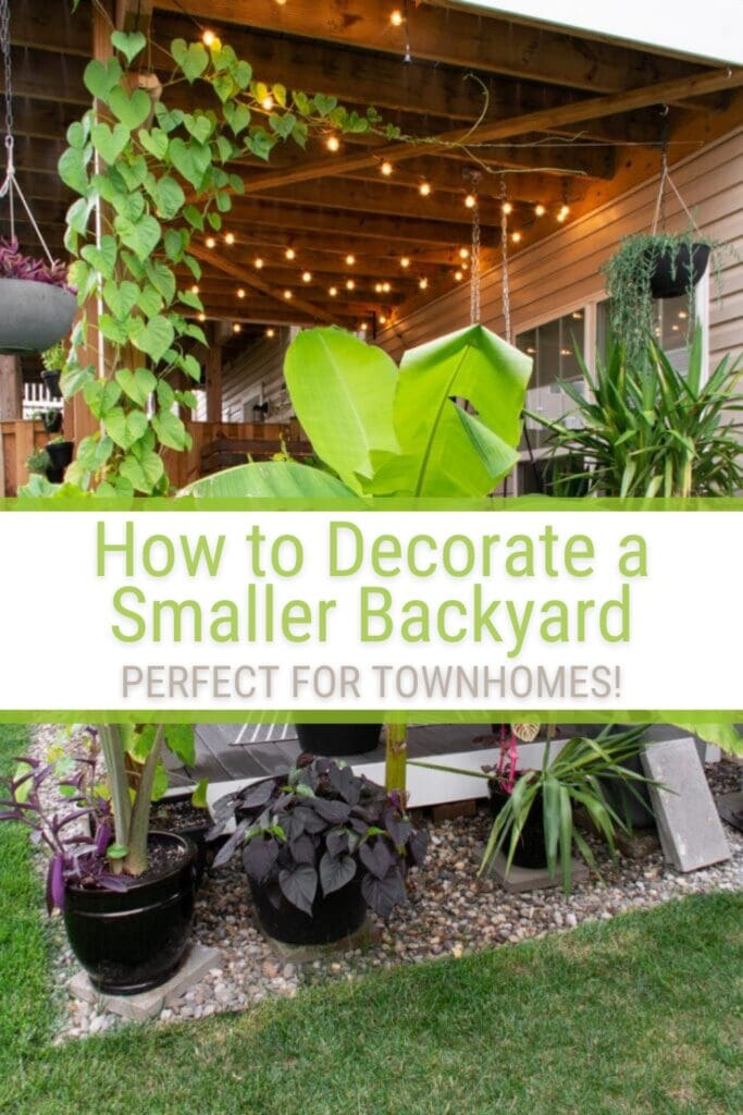 view of townhouse deck with plants and text How to Decorate a Small Backyard
