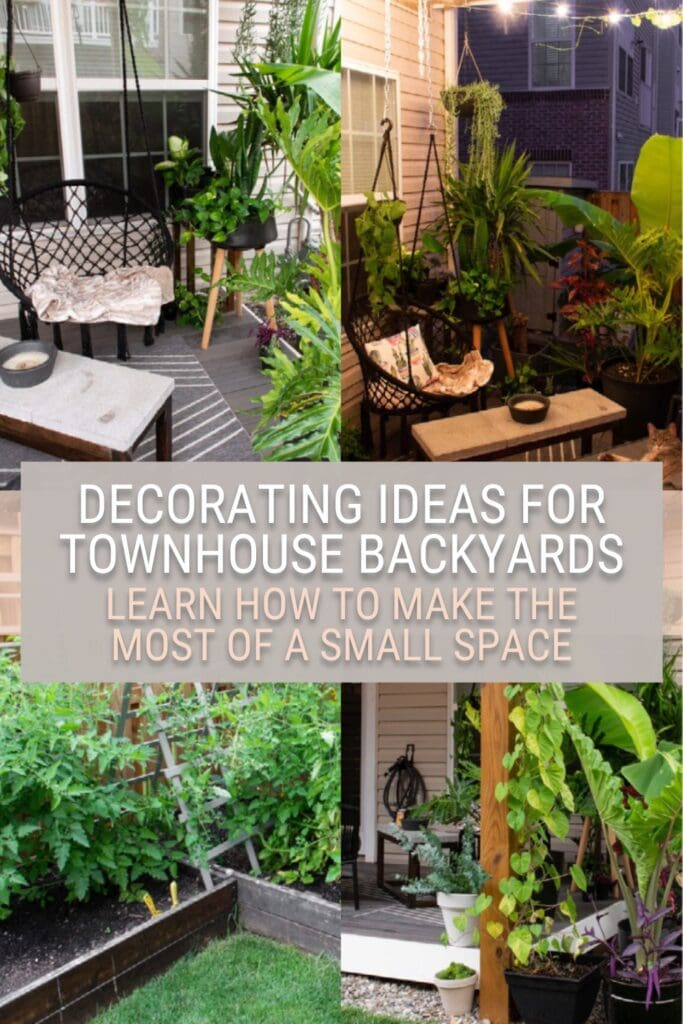 image collage of townhouse deck ideas with text Decorating Ideas for Townhouse Backyards