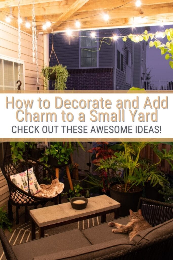 view of townhouse deck with text How to decorate and Add Charm to a Small Yard Check out these awesome ideas