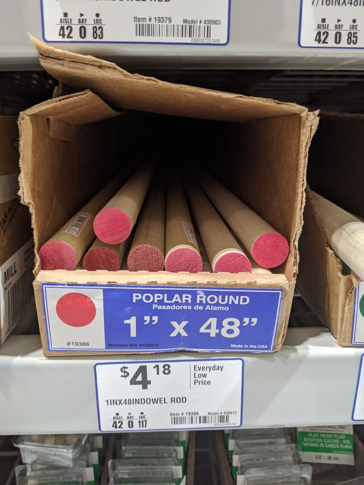 1 inch wooden dowel rods