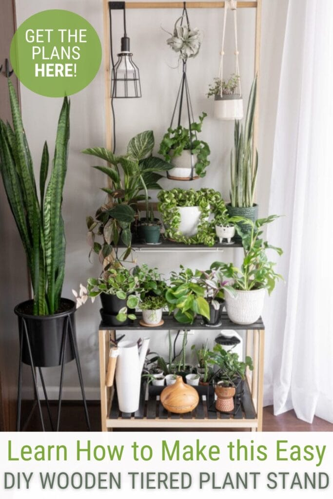 Tiered plant stand with plants and text Learn How to Make this Easy DIY Wooden Tiered Plant Stand