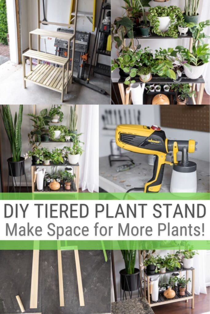 image collage of plants and plant stand with text DIY Tiered Plant Stand, Make Space for More Plants!