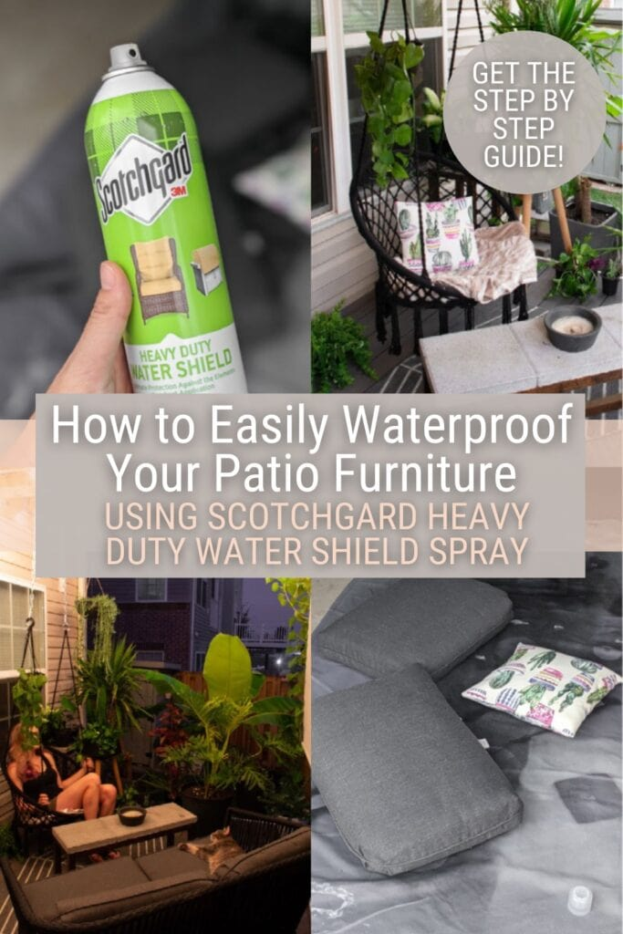 image collage of how to waterproof fabric with text How to Easily Waterproof Your Patio Furniture