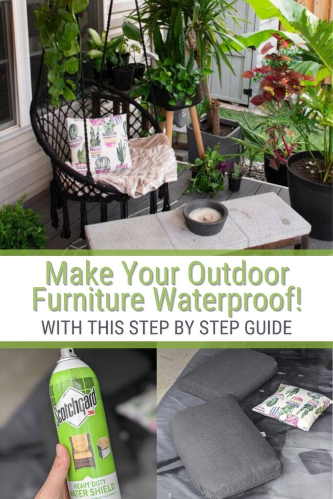 image collage of how to waterproof fabric and text Make Your Outdoor Furniture Waterproof!