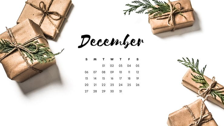 December 2020 Desktop Background with brown paper presents and greenery