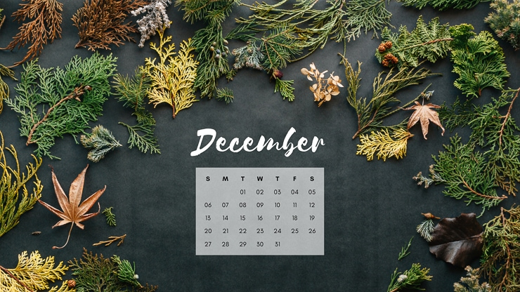 December 2020 Desktop Background with greenery and leaves