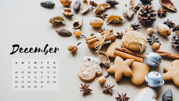December 2020 calendar with cookies and other baking supplies