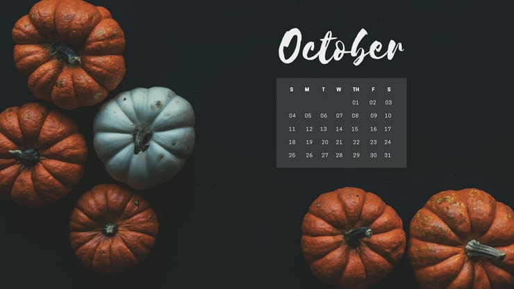 October 2020 Desktop Background with pumpkins
