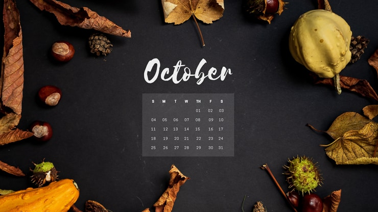 October 2020 Desktop Background with leaves, gourds, and acorns