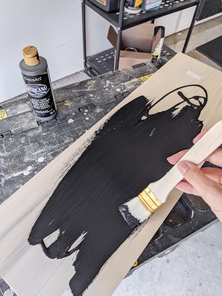 painting a piece of poplar black
