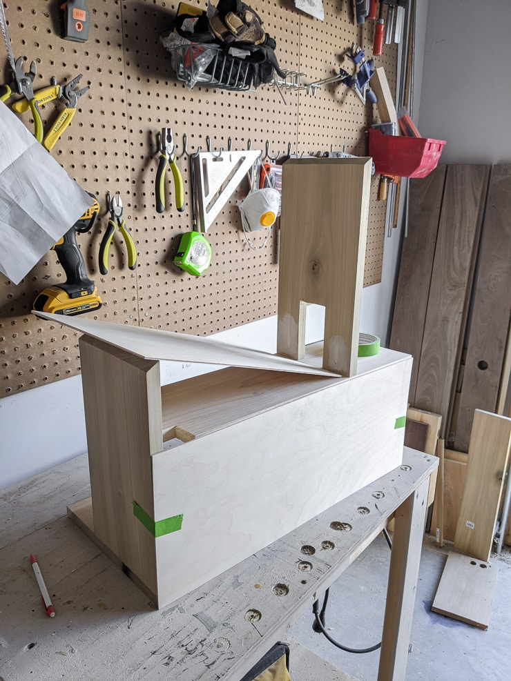 adding the back to a DIY dollhouse