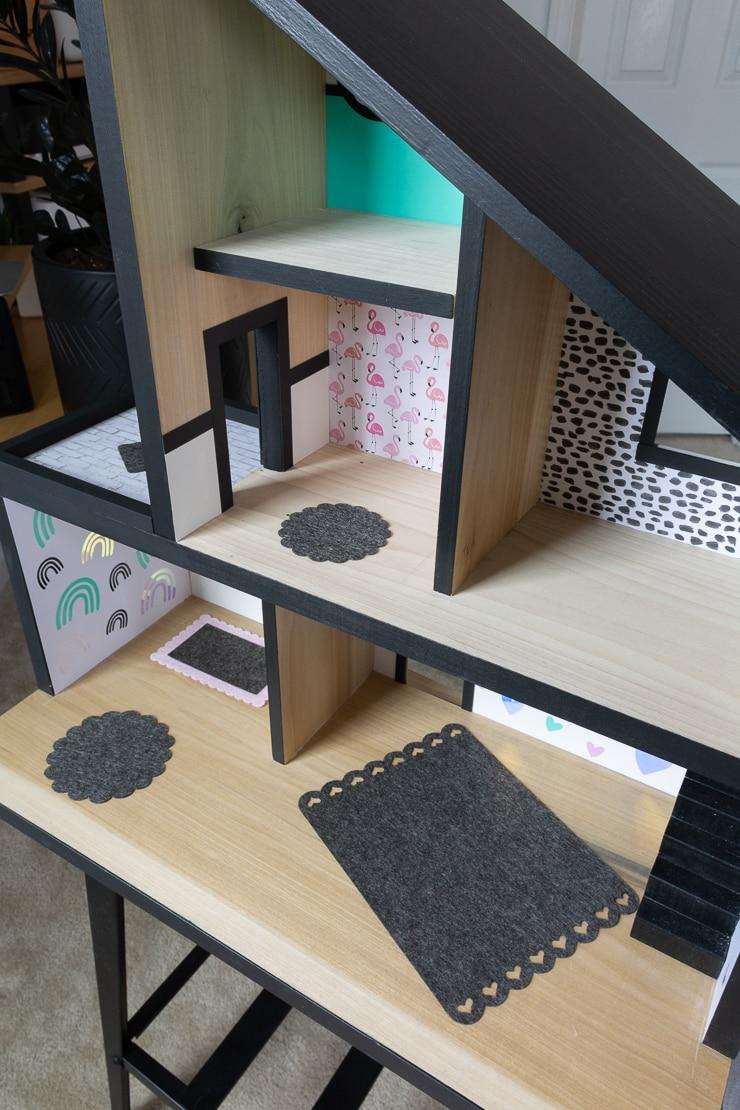 DIY miniature felt dollhouse rugs