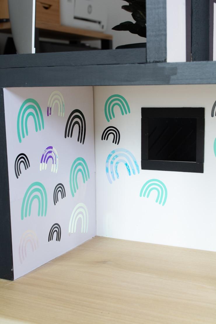 using adhesive vinyl to make dollhouse wallpaper