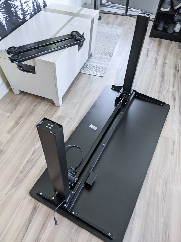 assembling the FlexiSpot electric standing desk
