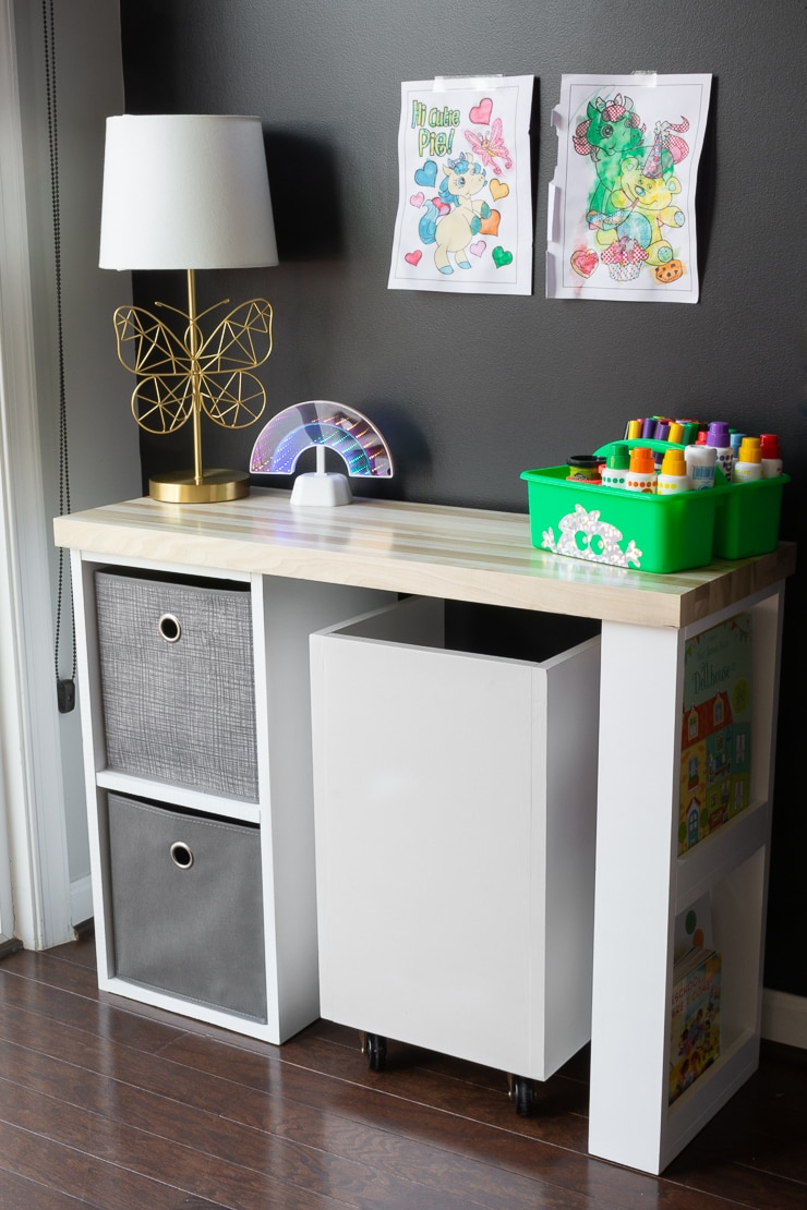 Kids desk with cubbies and a chair