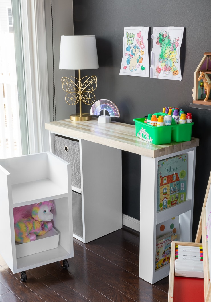 rolling DIY kids chair with storage and a modern DIY desk