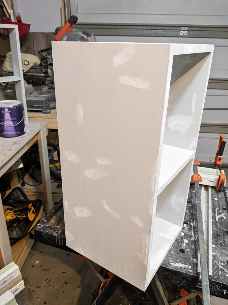 patching and priming the base for the DIY kids desk