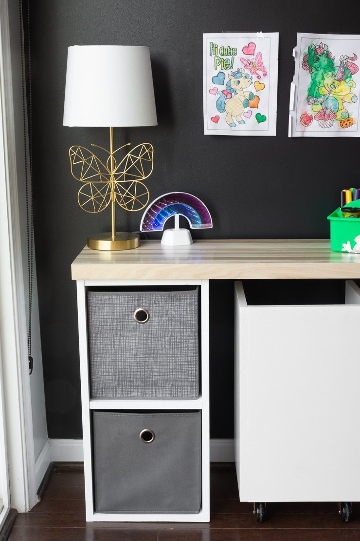 simple kids desk with storage
