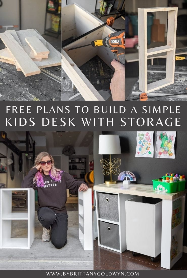 how to build a simple kids desk with storage