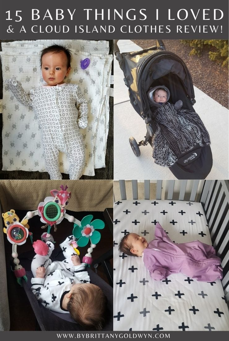 """Pinterest graphic with baby photos and the text """"15 things I loved for my daughter, updated with a detailed Cloud Island baby clothes review"""""""