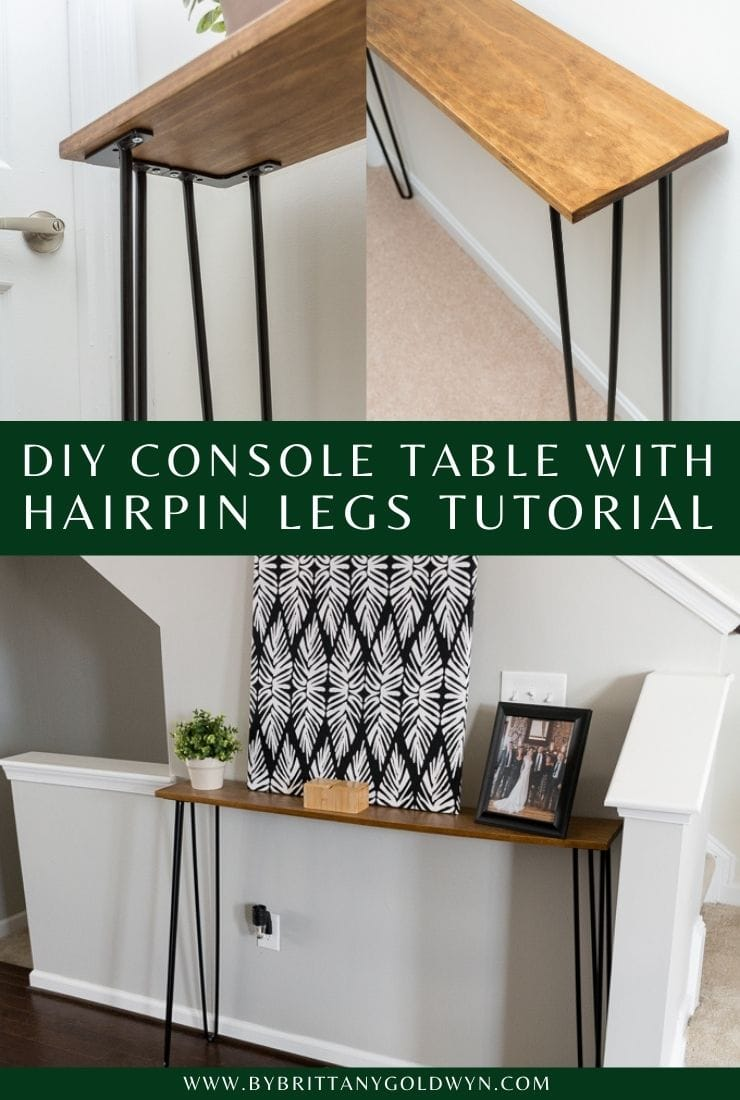 DIY Hairpin Leg Console Table image collage with text overlay