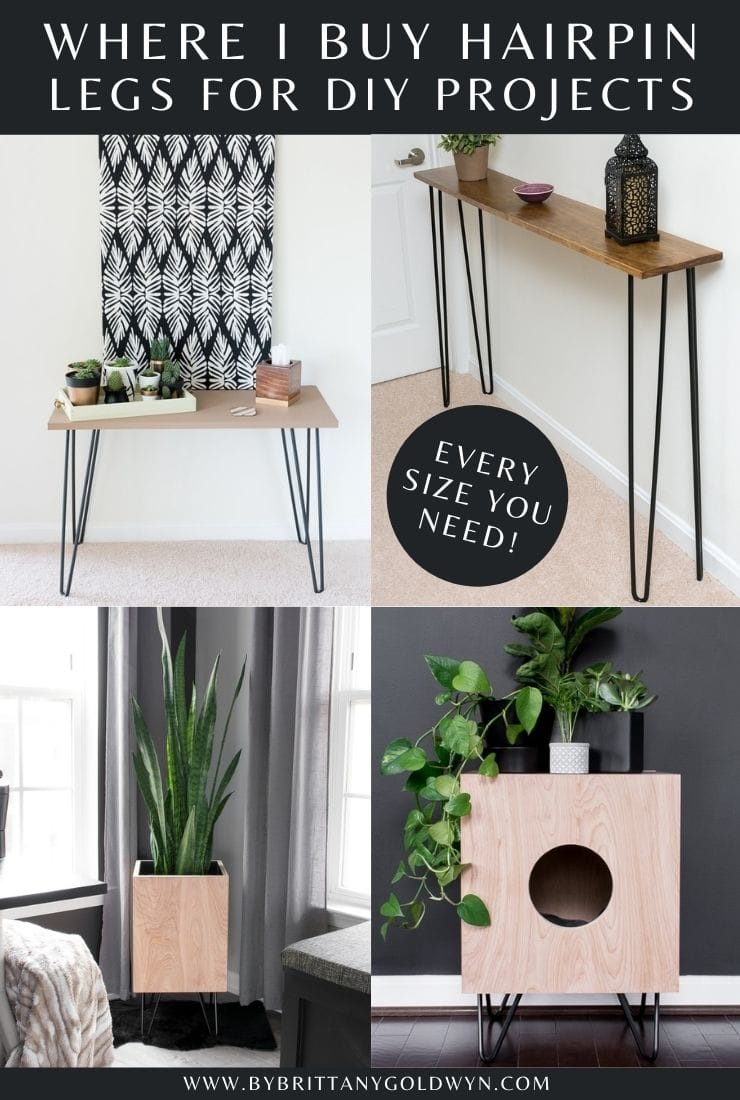 where I buy hairpin legs for DIY projects image collage with text overlay