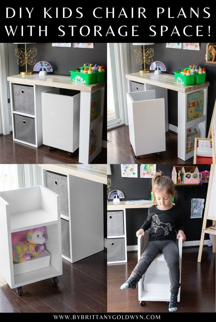 DIY kids chair with storage pinnable graphic with text overlay