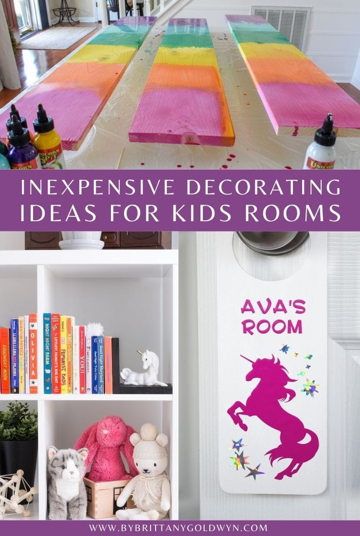 inexpensive decorating ideas for kids rooms pinnable graphic with text overlay