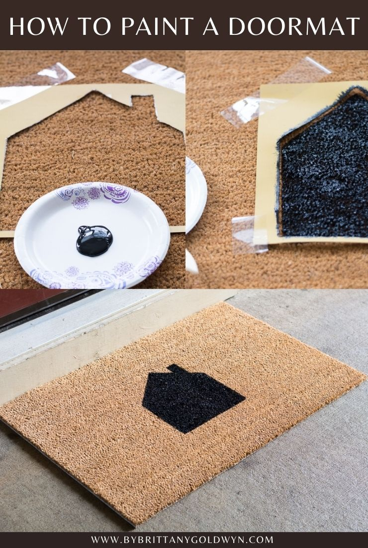 how to paint a doormat pinnable graphic with text overlay