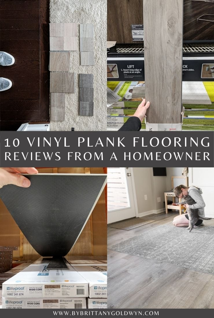 image collage of vinyl plank floor with text 10 Best Vinyl Plank flooring Brands to Use