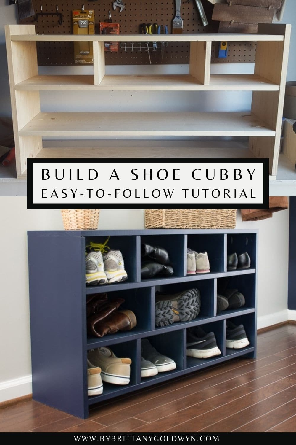 pinnable graphic with a collage of DIY shoe cubby photos and text overlay