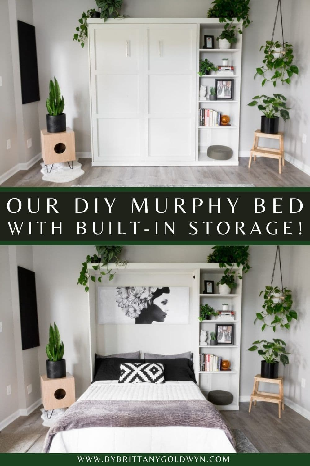 pinnable graphic with a collage about how to make a DIY murphy bed including text overlay