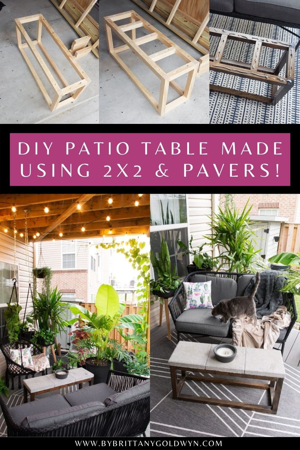 pinnable graphic with a collage of images and text overlay about how to make a diy patio table