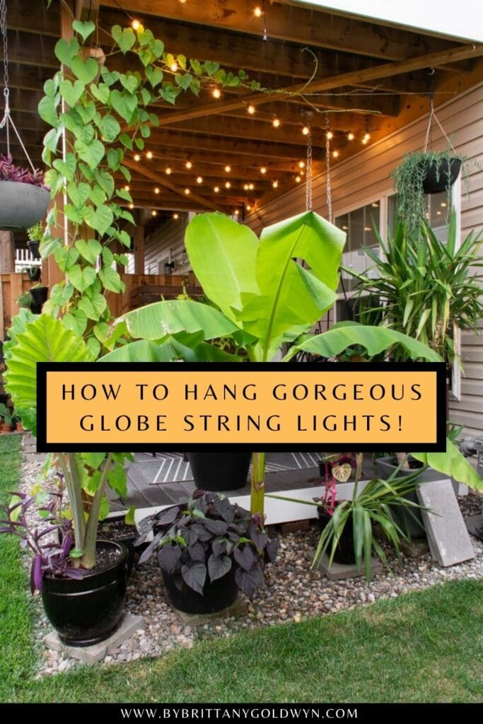 pinnable graphic with collage of images about hanging string lights under a deck or patio