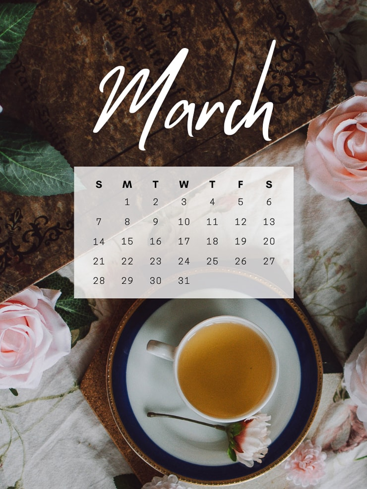 March 2021 desktop calendar image of flowers and tea on a table with a March calendar