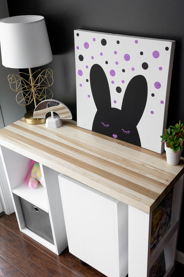 thrifted kids room decor with a modern bunny