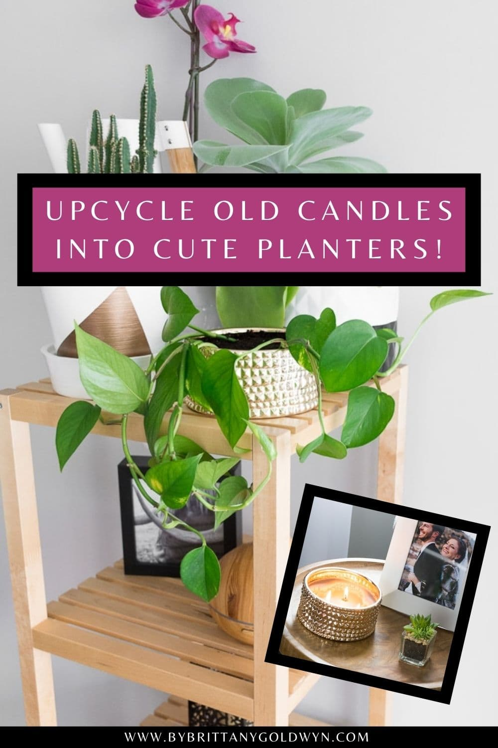 pinnable graphic about using candle holders as planters with text overlay