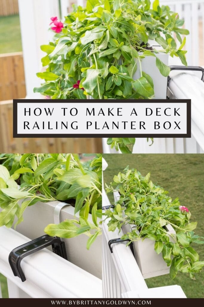 DIY deck railing planter box pinnable graphic with text overlay