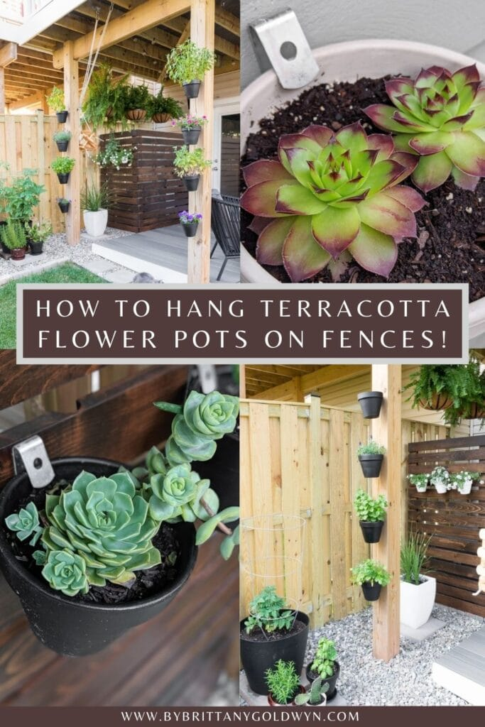 image collage of flower pots hanging with text how to hang terracotta flower pots on fences