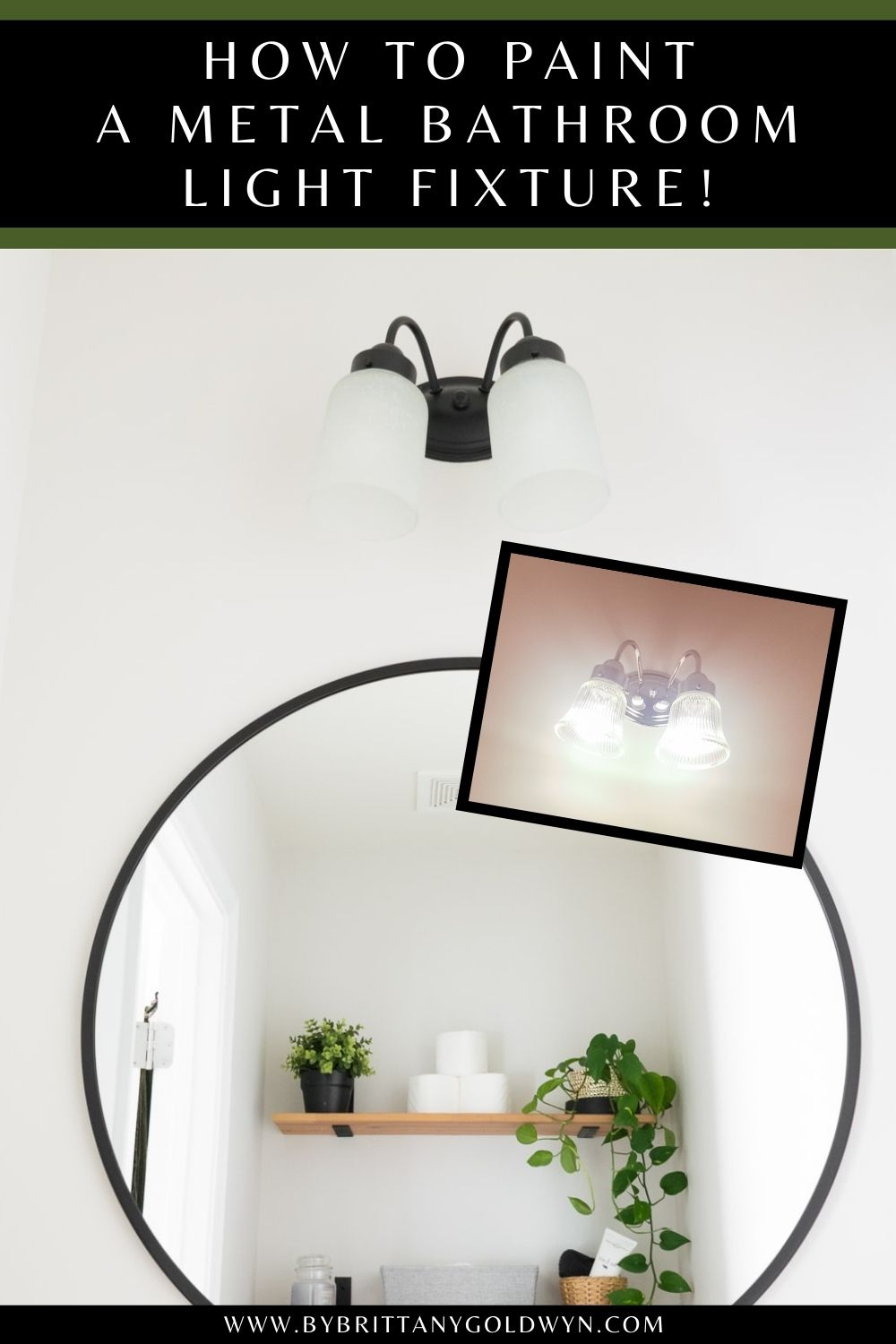 before and after of update to metal bathroom light fixtures