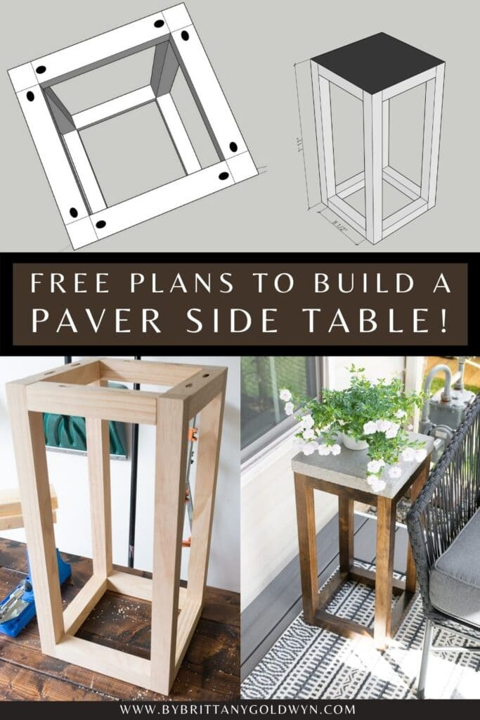 pinnable graphic about how to make a concrete paver side table with text overlay