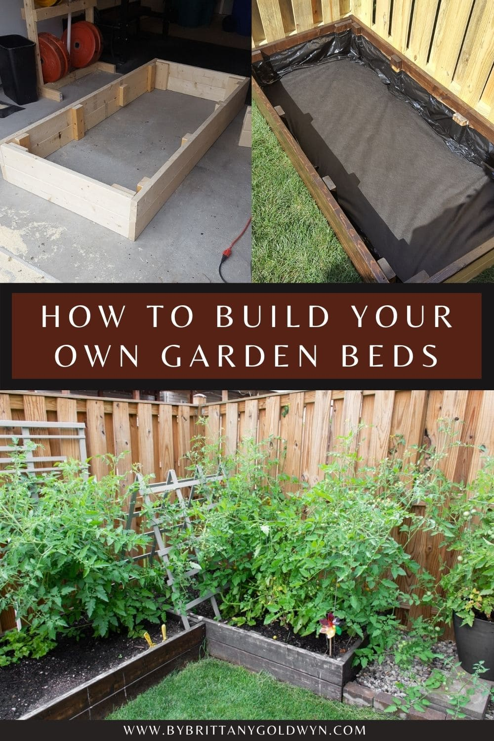 how to build raised garden beds pinnable graphic with test overlay