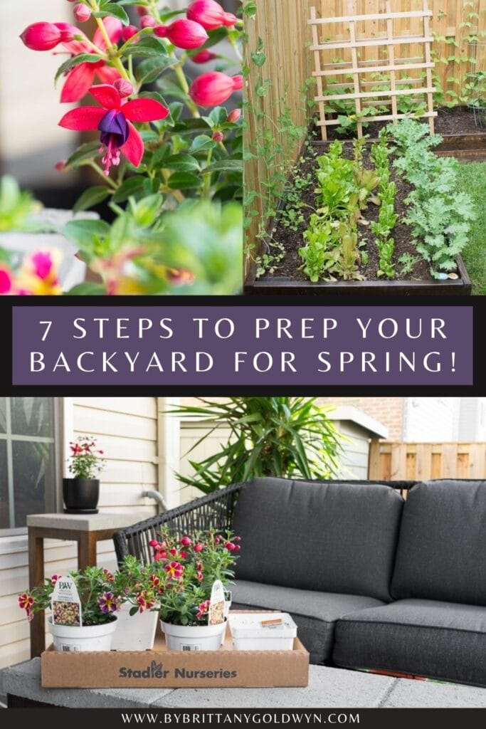 pinnable graphic with different images about how to prep your backyard for spring, including descriptive text overlay