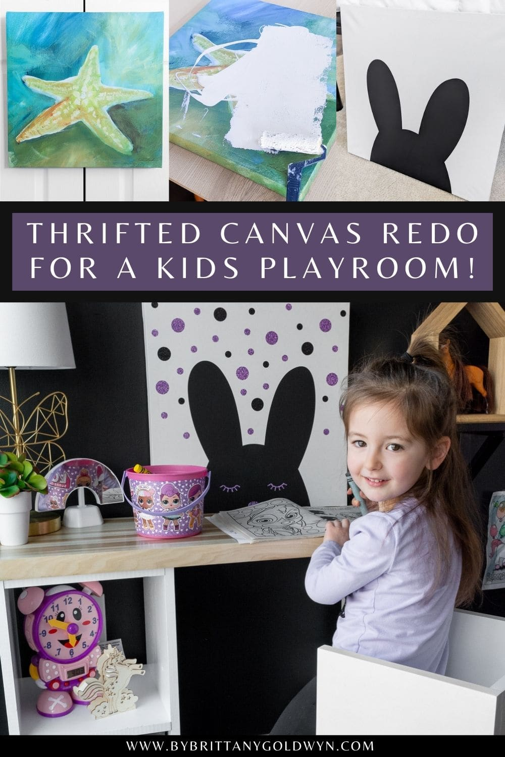 thrifted modern kids decor using an old canvas pinnable graphic with text overlay