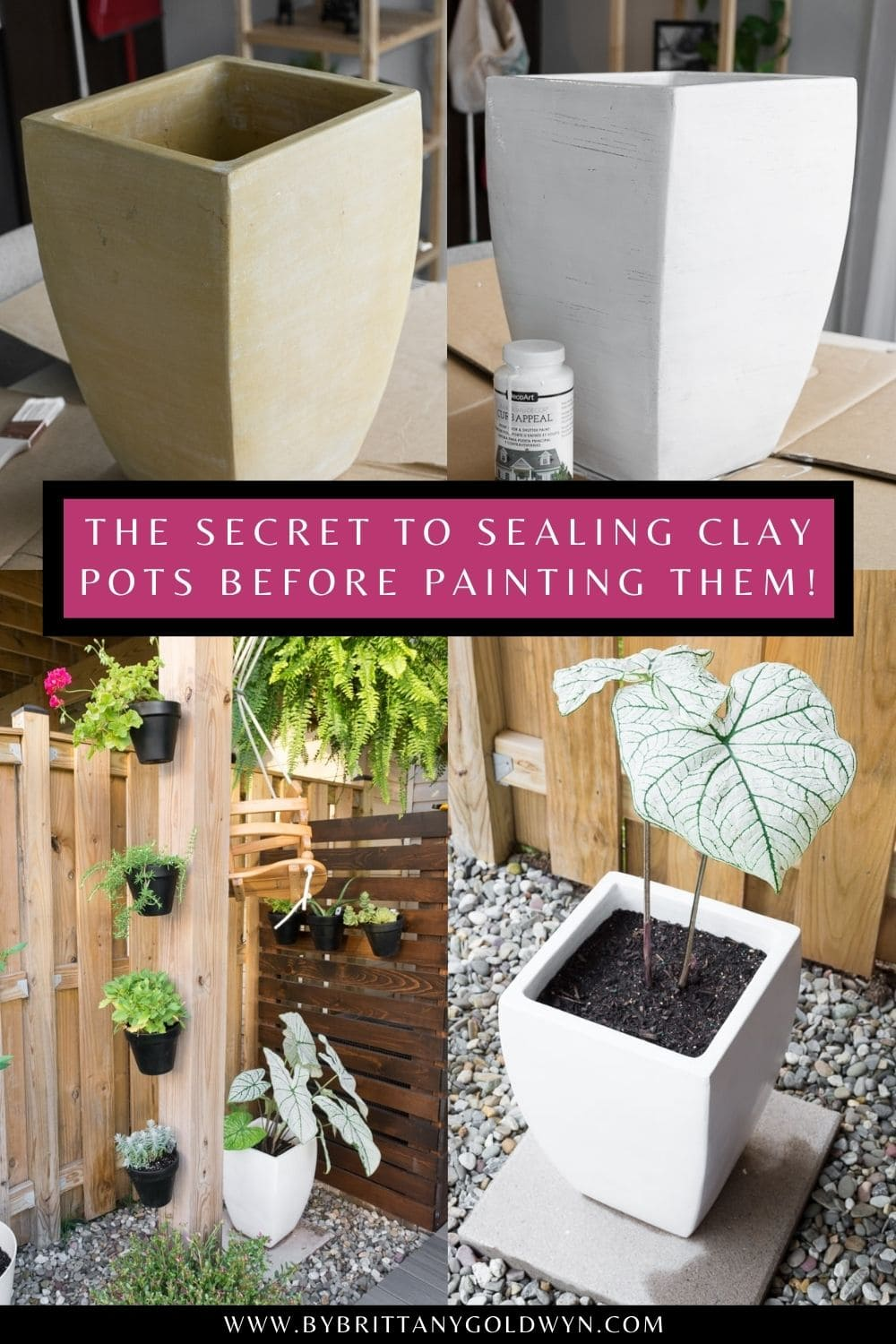 pinnable graphic with an image collage of the process to waterproofing clay pots and painting them