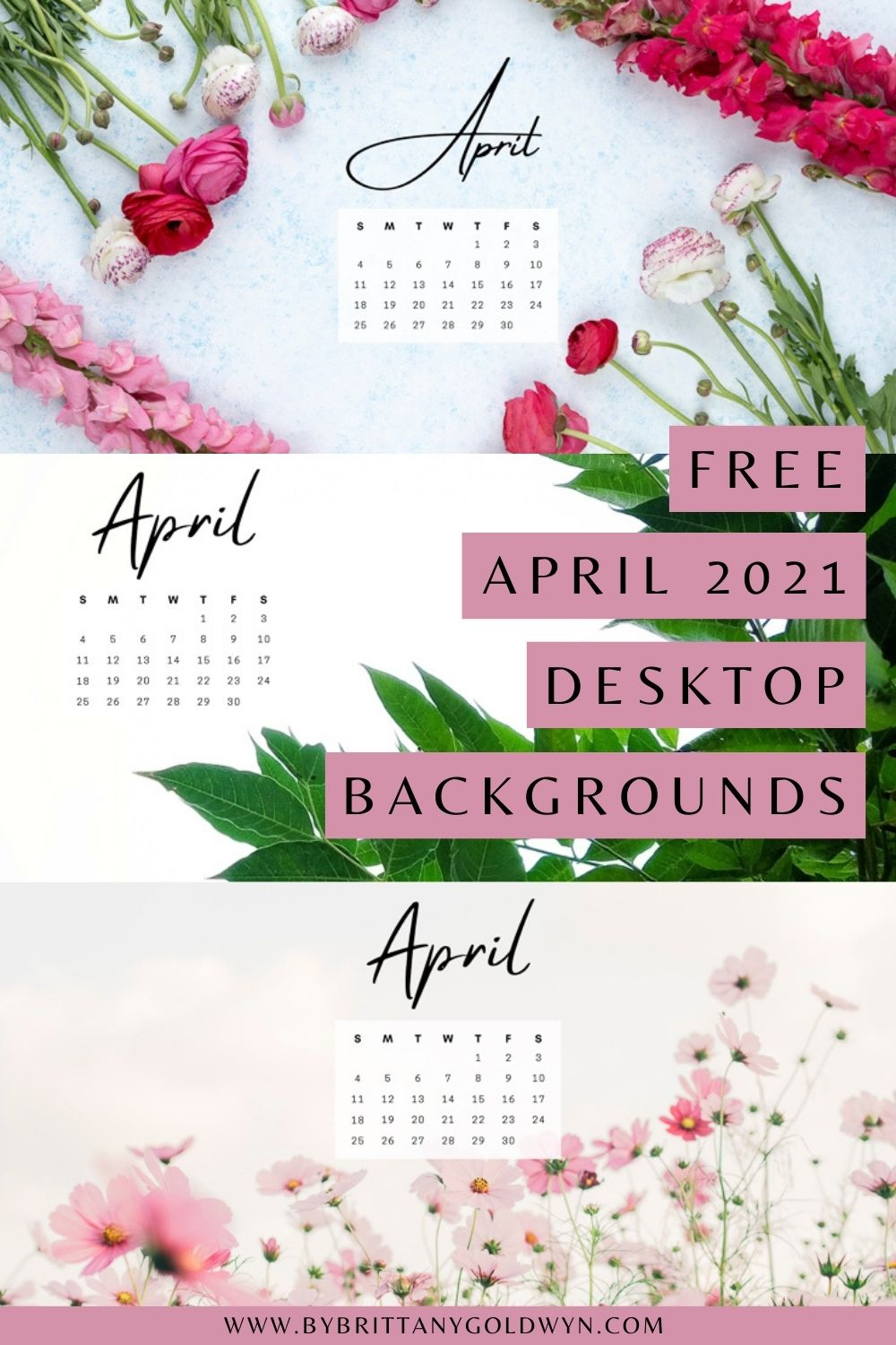 pinnable graphic with April 2021 computer desktop backgrounds and text overlay